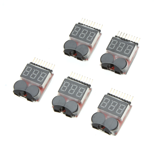 5 Pcs High Quality 1-8S Indicator RC Li-ion Lipo Battery Tester Low Voltage Buzzer Alarm
