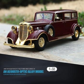 1/32 Lega di Imperatore Retro Classic Veicolo Auto Giocattolo Tirare Indietro La Luce Suono Die Cast Modello di Auto Giocattoli 1