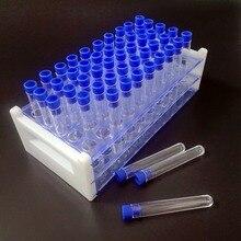 Juego de tubos de ensayo de plástico transparente, 50 tubos 12x75mm(5ML), con tapa y estante