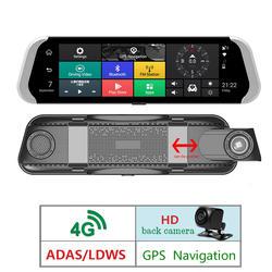 """4 г зеркало заднего вида Автомобильный dvr 10 """"Полный сенсорный Android 5,1 gps навигации FHD 1080 P ADAS Bluetooth Wi Fi двойной объектив тире камера"""