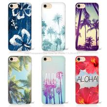 Hot sale Aloha Palm Trees Hard Transparent Phone Case Cover Coque for Apple iPhone 4 4s 5 5s SE 5C 6 6s 7 Plus