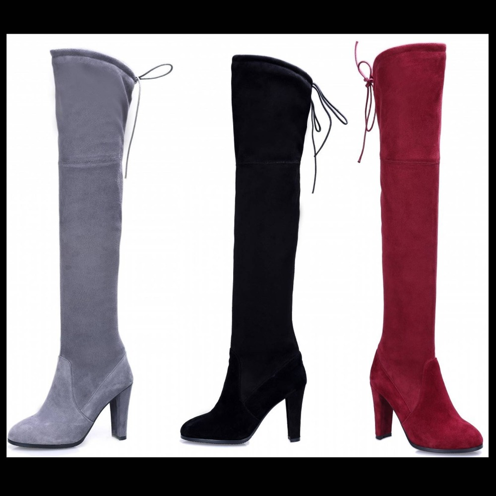 new autumn winter Fashion suede leather Black amy green women over the knee boots stretch boots shoe top quality long boots