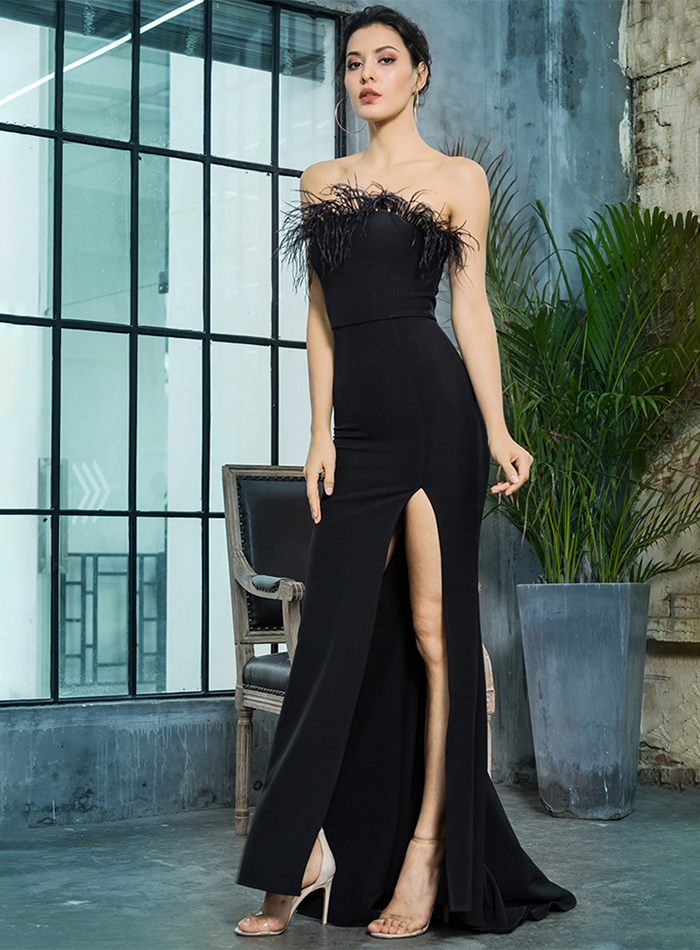 Black Strapless Cut Out Feather Long Dress 3
