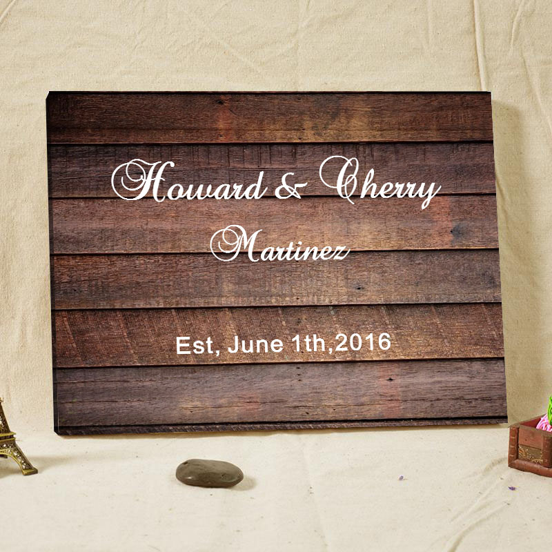 2016 customized text wedding guest book wood frame canvas prints alternative signature books engagement