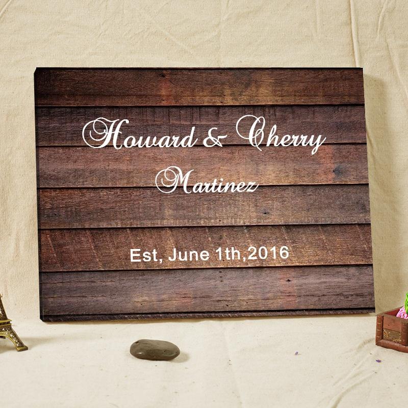 2016 customized text wedding guest book wood frame canvas prints alternative signature books engagement