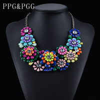 2015 New Design Luxury Fashion Jewellery Colorful Flower Necklace Bib Statement Necklaces Choker Collar For Women