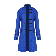 Naiveroo Plus Size Mens Jacket Steampunk Halloween Wedding Trench Jacket Vintage Long Sleeve Gothic Brocade Outwear