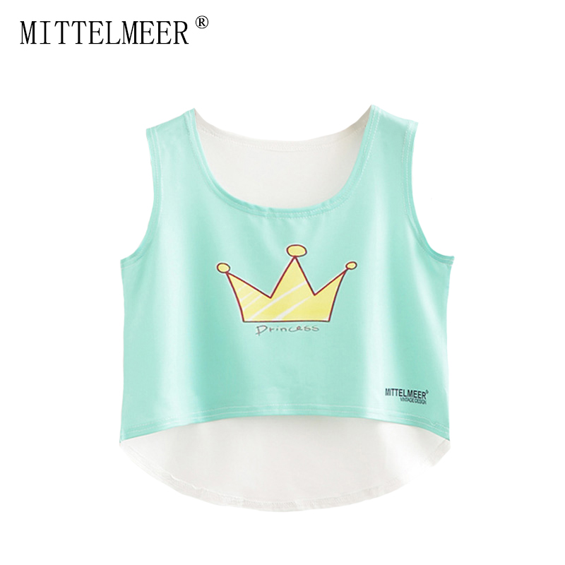 2017 MITTELMEER bare midriff Tank tops Women harajuk Crew Neck Top sleeveless Crown irregular Tanks Summer tops For Ladies
