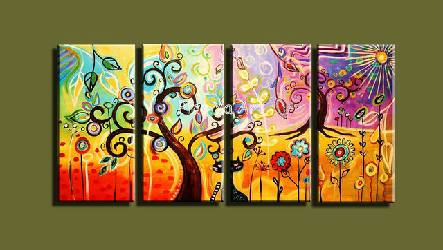 4 panel large modern abstract wall art handmade huge acrylic tree of