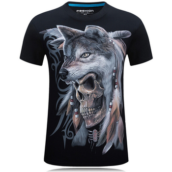 New Men Summer T-shirt Short sleeve 3D Skull wolf Print T-shirt Cotton tees Large size Fashion leisure Loose t-shirt men S-6XL 2019 men s basic short sleeve t shirt 3d print t shirt dragon ball temperament sun wukong cotton funny t shirt homme top tees