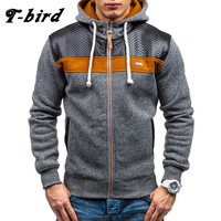 T Bird 2017 Hoodies Men Sudaderas Hombre Hip Hop Mens Stitching Hooded Zipper Casual Hoodie Sweatshirt