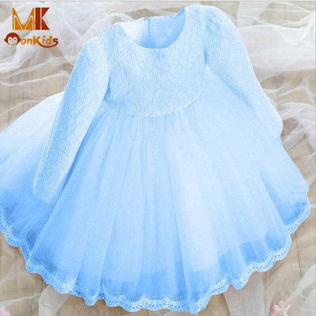 Monkids 2016 Fantasy Version Christening Dress Baby Girl Dresses Kids Party Princess Baby Girls Clothing Dresses Bow Lace