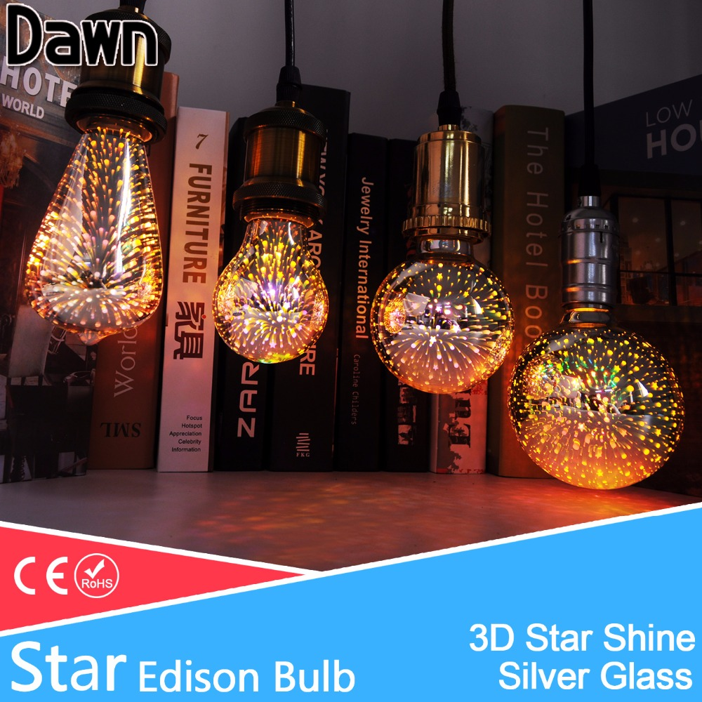 3D Star Led Edison Light Bulb e27 led lamp decoration bulb 220V light st64 g80 g95 a60 novelty lamp for Holiday Party Bar stage