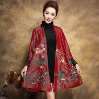 Autumn Winter Coat Cloak Windbreaker High-end Mom Traditional Chinese Clothing For Women Elderly Clothes Oriental Embroidery
