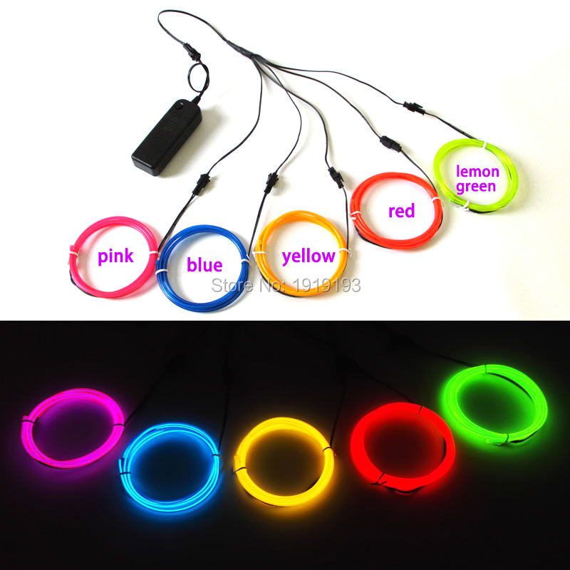3.2mm 1Meter x 5pcs five color mix flexible electroluminescent wire EL wire tube Led Strip Neon light rope for Party decoration