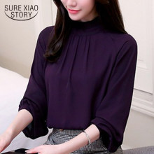 fashion woman blouses 2019 long sleeve women shirts chiffon blouse shirt blusas office work wear womens tops and blouses 93A 60(China)