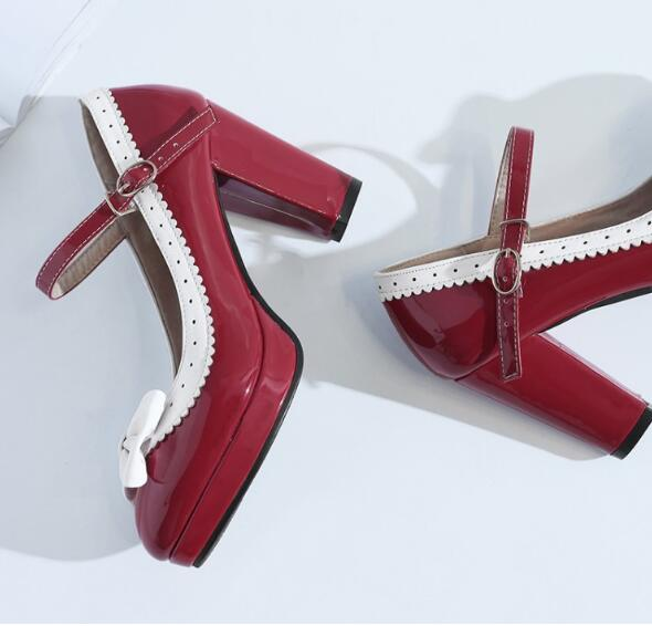 Talons Chaussure Ceinture G61526 Zapatos De Plate Femmes Boucle red Pompes Douce Mujer forme Black Hauts Femme Dames purple Bowtie Chaussures Mariage pink ArAqYT