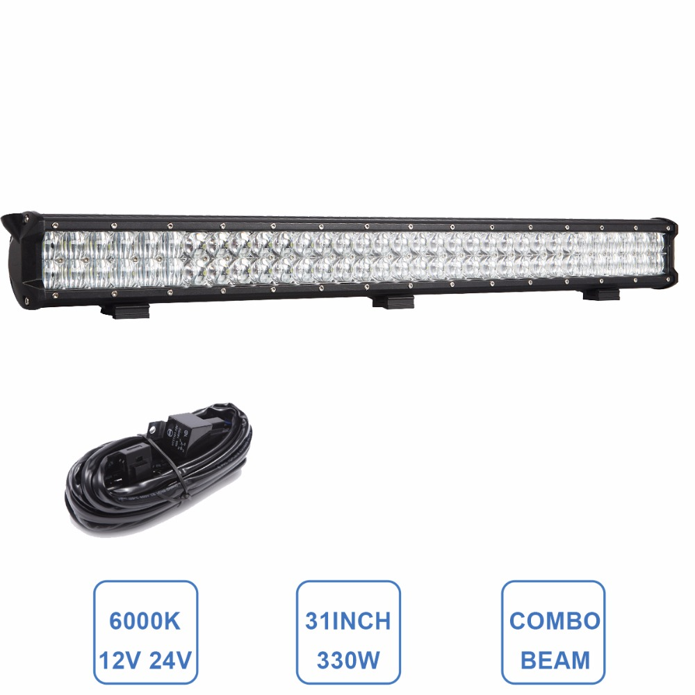330W Offroad LED Light Bar 31'' CREE LED CHIP Car Auto SUV Truck Tractor Trailer ATV Van Pickup Wagon 12V 24V Combo Driving Lamp offroad 234w led light bar 37 12v 24v off road atv auto suv ute 4x4 truck trailer tractor boat yacht wagon pickup headlight
