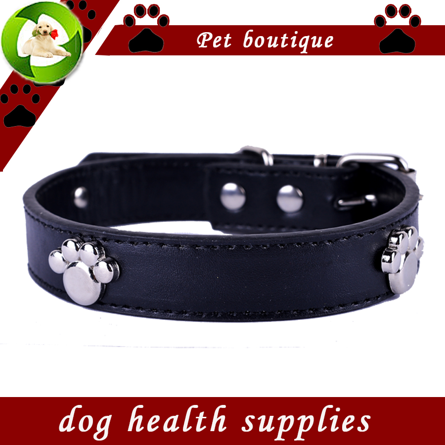 Fashion Dog Collars Personlig Paw Tilbehør Pu Læder Collar Sort Rød Gul Grøn Farver Collar Lead Pet Products
