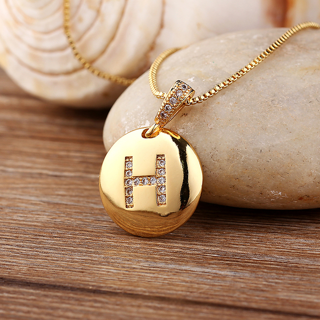 Top Quality Women Girls Initial Letter Necklace Gold 26 Letters Charm Necklaces Pendants Copper CZ Jewelry Personalized Necklace 2