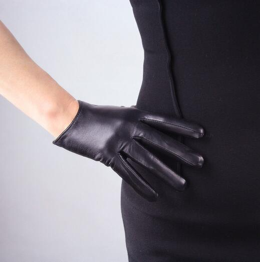 Women's Short Design Sheepskin Gloves Thin Genuine Leather Gloves Touch Screen Black Motorcycle Glove R630