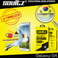 Brand Soultz Dirt-Resistant Tempered Glass Clear Screen Protector For Samsung Galaxy S4 SIV i9500 Protective Film with package