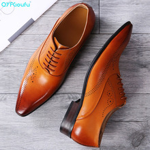 QYFCIOUFU Pointed Toe Dress Shoes Men Fashion Genuine Leather Wedding Shoes Luxury Lace-up Business Office Men Formal Shoes