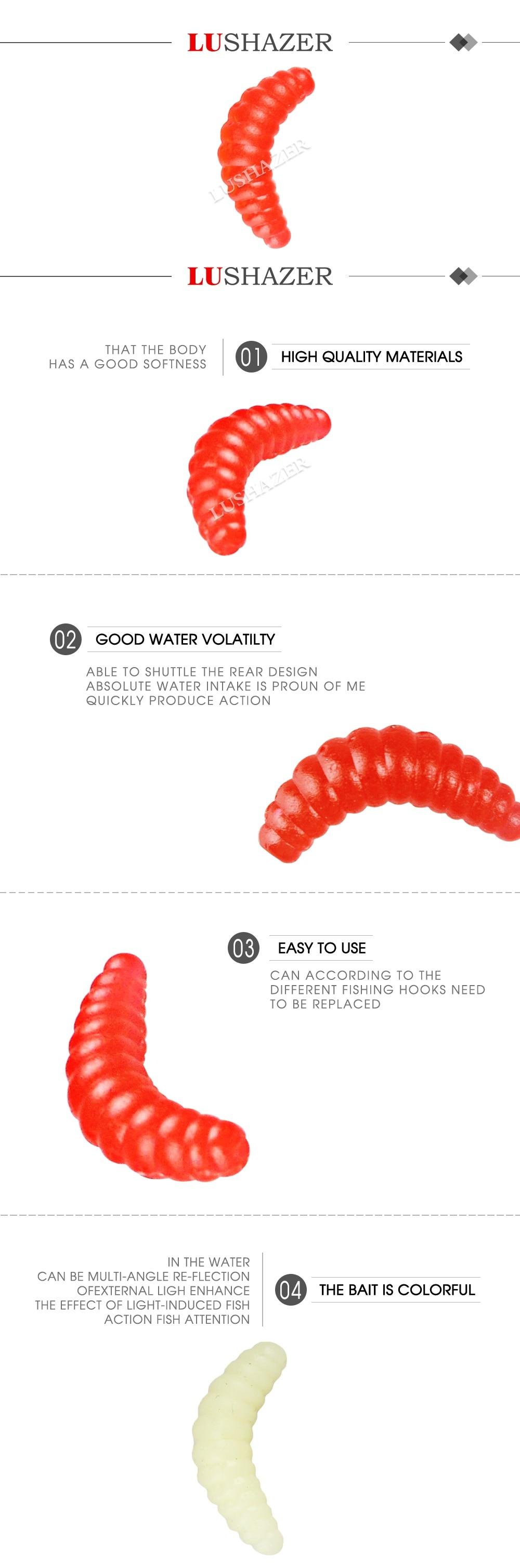 100pcs/lot fishing lure soft maggot worm 2.4cm 0.5g silicone bait ...