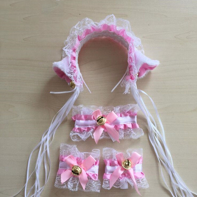 Women Lady Cat Girls Lace Tassels Ear Headband Housekeeper Waitress Maid Dressing Set Anime Cosplay Costume Accessories