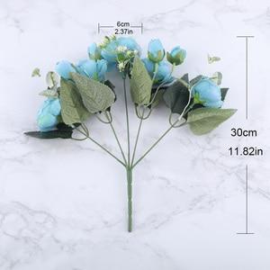 Image 5 - 30 centimetri Rosa di Seta Rosa Peonia Fiori Artificiali Bouquet 5 Grande Testa e 4 Del Germoglio A Buon Mercato Fasullo Fiori per la Casa decorazione di cerimonia nuziale indoor