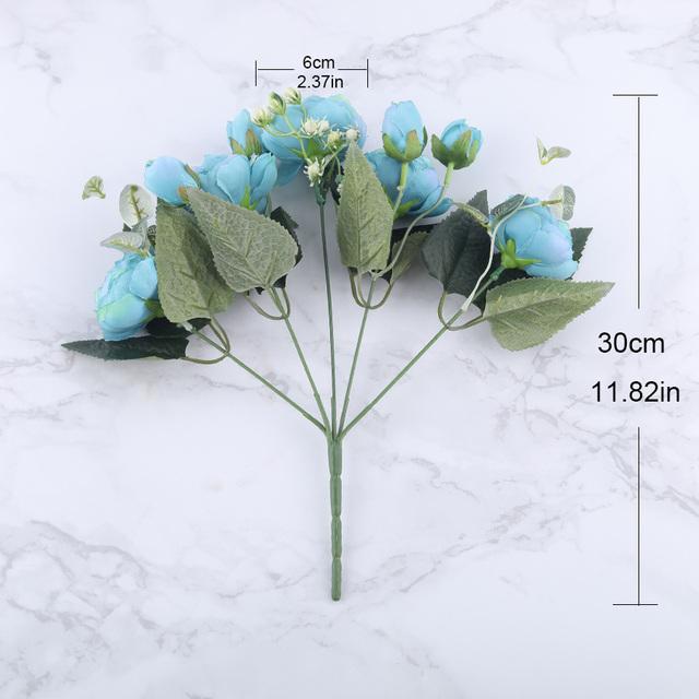 Ramo de flores artificiales de peonía de seda rosa de 30 cm 5 cabezas grandes y 4 Bud flores falsas baratas para el hogar decoración de la boda de interior