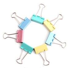 Горячая распродажа 10 шт./компл. 15 мм цветной металлический скоросшиватель скрепки для бумаги канцелярские принадлежности Цвет в случайном порядке