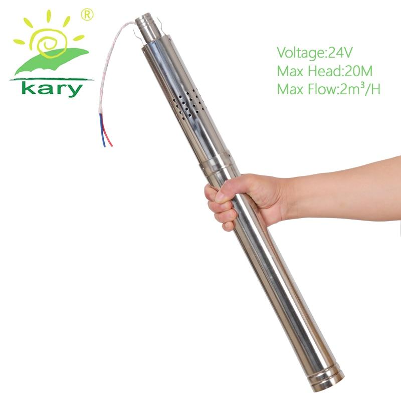 Kary ultra mince 24 v DC pompe à eau solaire submersible, max dia 2 pouces pompe à alésage solaire avec contrôleur interne