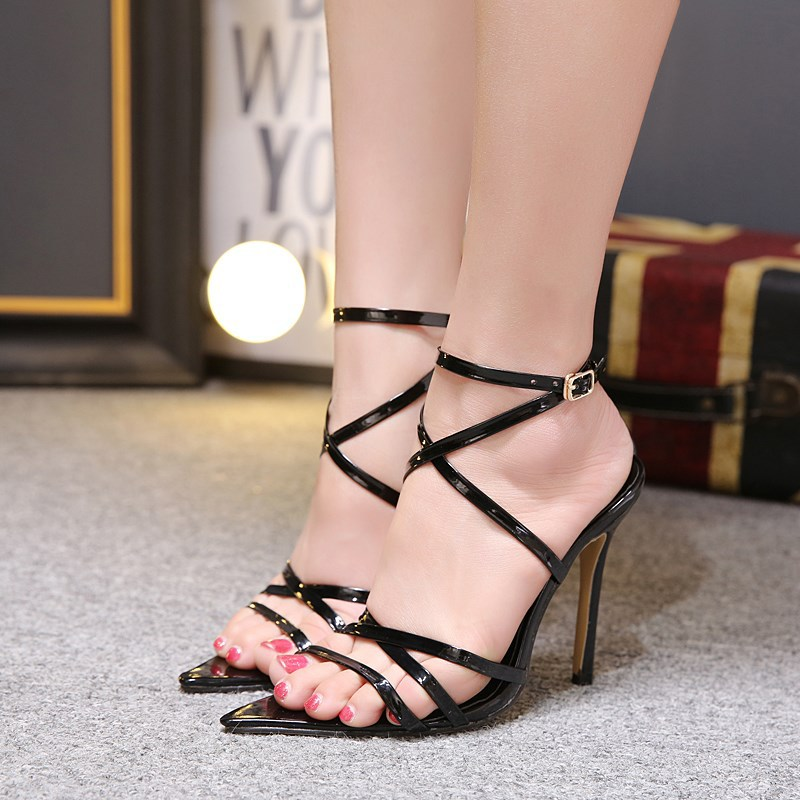 LTARTA Sexy Yellow Sandals Ladies Sandals Summer New Pointed Fish Mouth Cross Stilettos Sharp Point Toe 11.5cm heels ZL-222-5