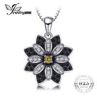 JewelryPalace Flower Natural Taupe Smoky Quartz Black Spinel Pendant 100 925 Sterling Silver Fine Jewelry Not