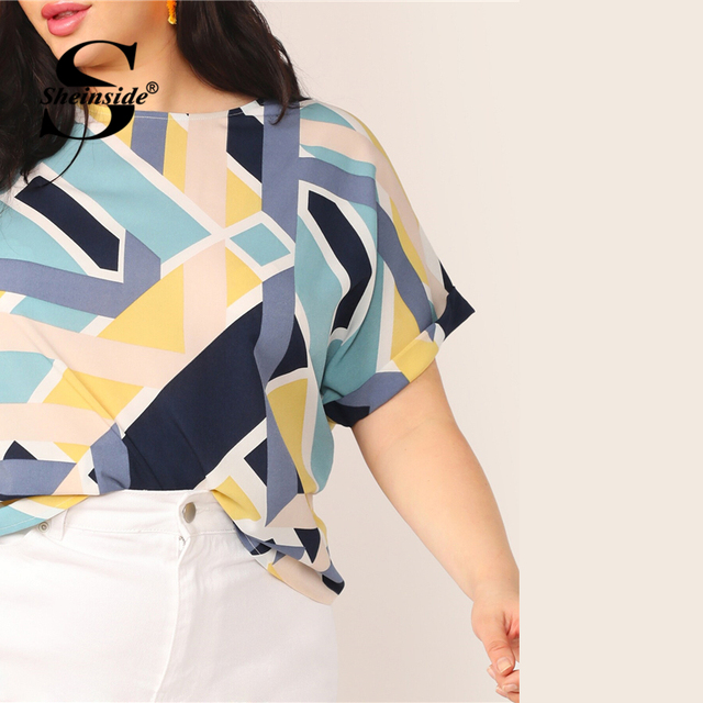 Sheinside Plus Size Geo Print Cuffed Sleeve Top Women 2019 Summer Boat Neck Elegant Blouses Ladies Casual Colorblock Top 4