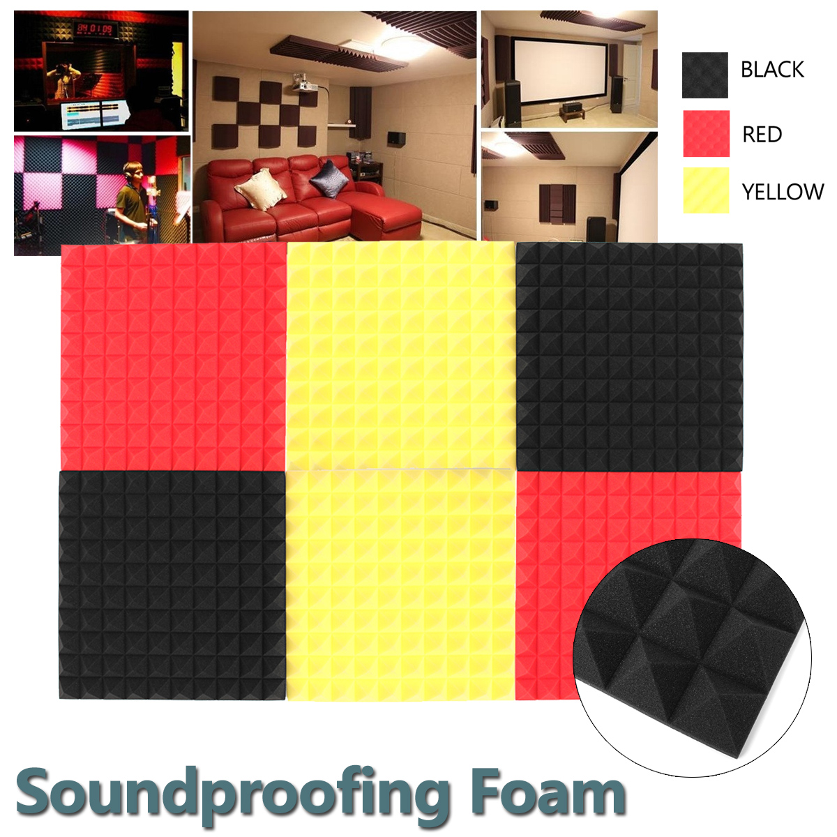 1PCS 50x50x4cm Acoustic Foam Soundproofing Foam Studio KTV Room Wall Acoustic Foam Soundproofing Treatment Absorption Tile Wedge