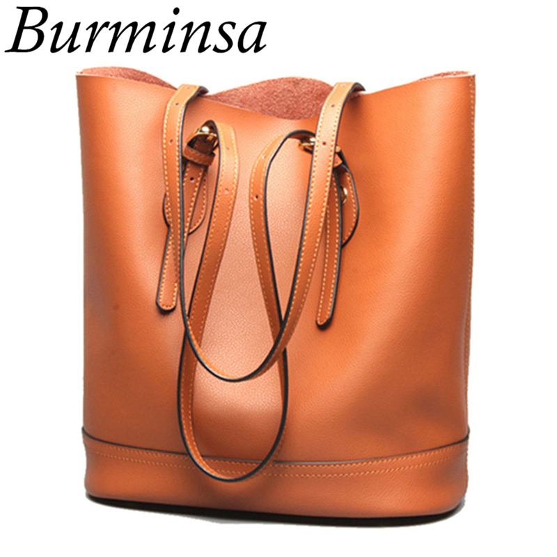 Burminsa Brand Winter New Genuine Leather Bucket Bags Large Tote Shopper Bag Designer Handbags High Quality Women Shoulder Bags [whorse] new casual tote patchwork designer brand women genuine leather handbags open bucket shoulder bag messenger bags w0754
