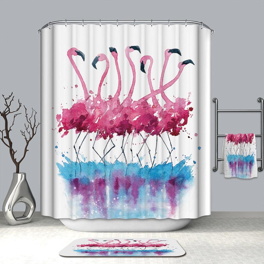 Image 2 - VOZRO Shower Curtain Bathroom Waterproof Polyester Flamingo Africa Bape Douchegordijn Pascoa Cortina Ducha Cactus Youtube London-in Shower Curtains from Home & Garden