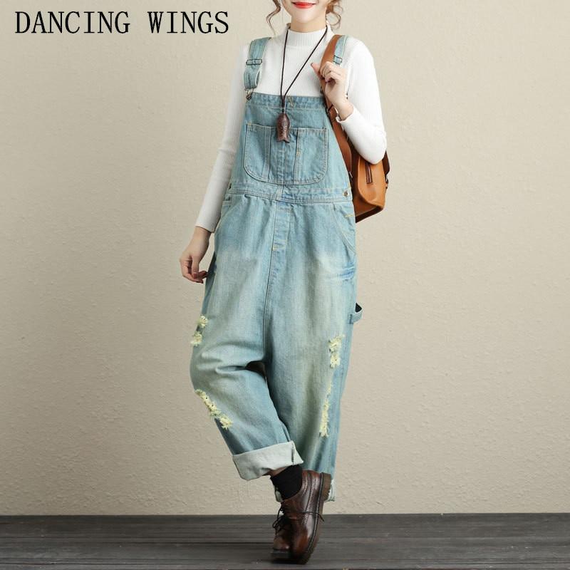 Women Washed Jeans Denim Casual Hole Frayed Loose Jumpsuit Female Large Size Drop Crotch Wide Leg Bib Denim Overalls