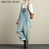 Women Washed Jeans Denim Casual Hole Frayed Loose Jumpsuit Female Large Size Drop Crotch Wide Leg Bib Denim Overalls