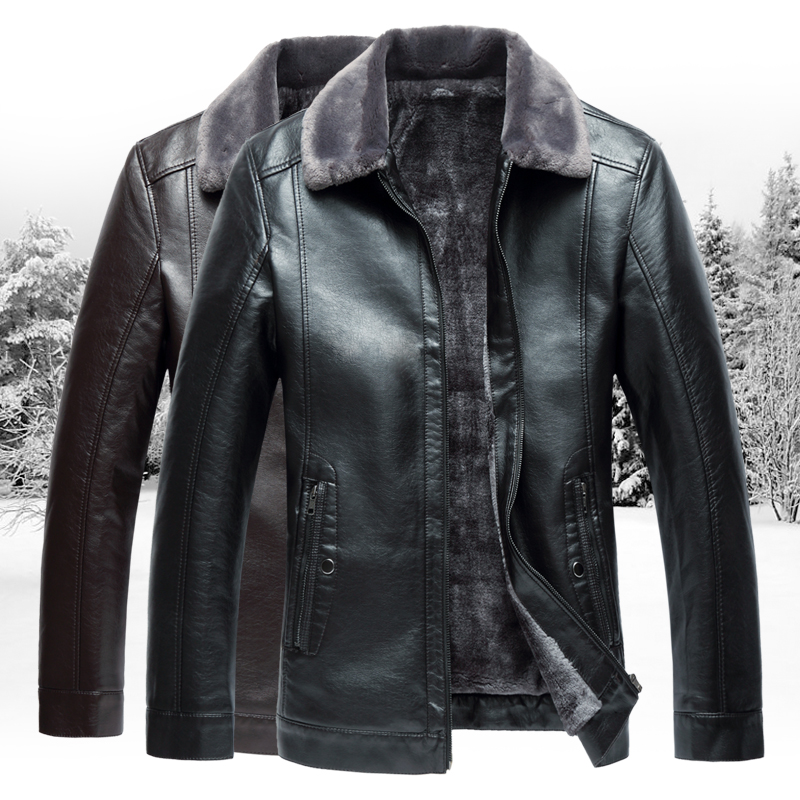2019 Winter Men's Leather Jacket,fashion Men's Business Jackets,large Size Solid Turn-down Collar Leather Warm L-7XL Black Brown