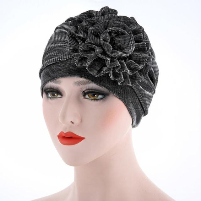 Women India Hat Muslim Ruffle Cancer Hat Pearl Beanie Scarf Turban Head Wrap Cap