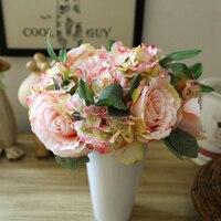 시뮬레이션 신부 꽃을 들고 꽃다발 실크 큰 장미 빈티