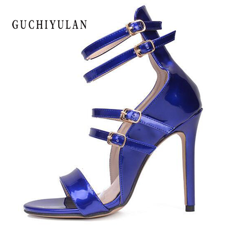 woman pumps11cm Sexy catwalk strap buckle with open toe heels sandals banquet shoes extreme high heels Patent Leather Black blue цена 2017