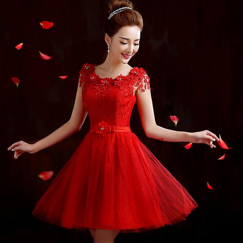 New Princess A Line Sleeveless Short   Cocktail     Dresses   2016 Beads Red Lace Appliques Open Deep V Back Vestido De Coctel Banquet