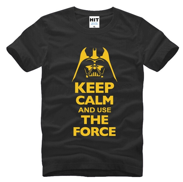 buy star wars black tshirt with yellow words keep calm and use the force tshirt