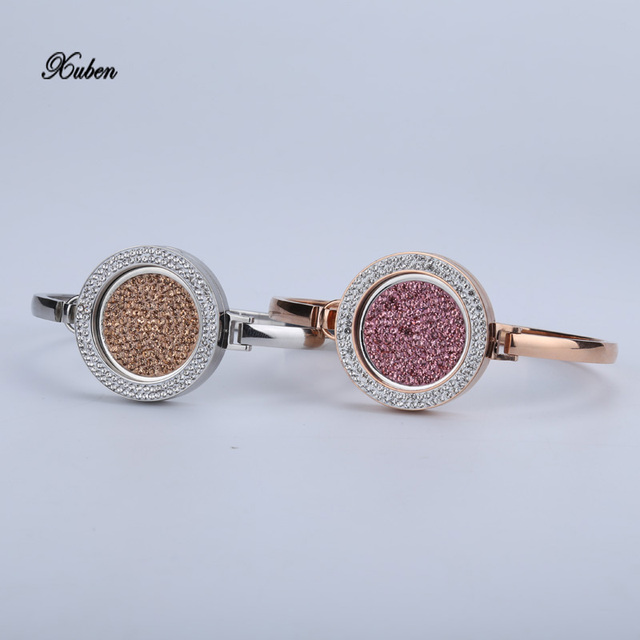 Snap Button Bracelets Bangles stainless steel bracelet women Casual Personality Bracelet change  25mm crystal coin disc pink