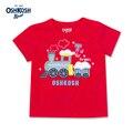 OshKosh Niños Camisetas Niños Del Verano Del Algodón Tee Kids Rojo T Shirts Casual Tops Ropa de Bebé Tren de la Historieta Camisetas para Niños