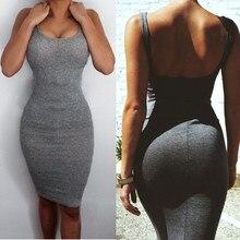 Yeni Yaz Elbise Bodycon Seksi İnce Kolsuz Katı Renk Backless Kılıf Spagetti Askı Parti Mini Elbise